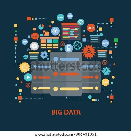 Big data concept design on dark background,clean vector - stock vector