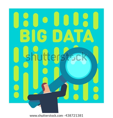 Big data concept flat vector illustration. Character holding a giant magnifying glass, analyzing big data information binary flow. - stock vector