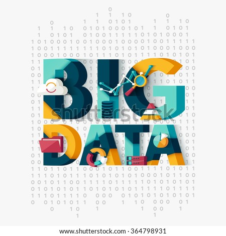 Big data concept. Typographic poster. - stock vector