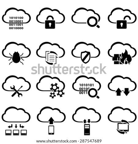 Big data, cyber security and cloud computing icon set