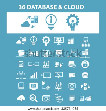 big data, database, hosting, analytics  icons, signs vector concept set for infographics, mobile, website, application  - stock vector