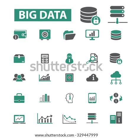 big data, hosting, system organization, information storage icons - stock vector