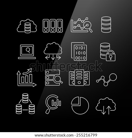 Big Data icon set - Linear Series - stock vector