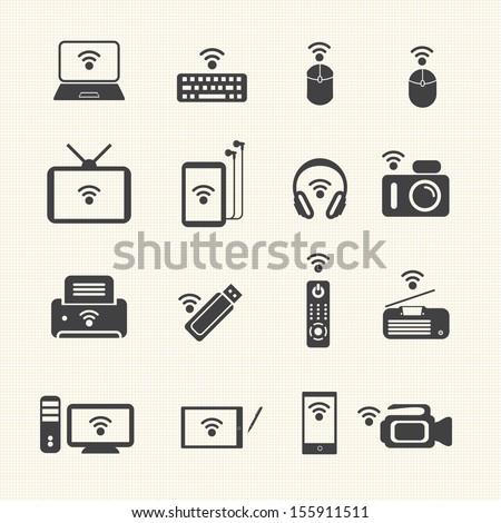 Big Data icon set, Wireless technology - stock vector