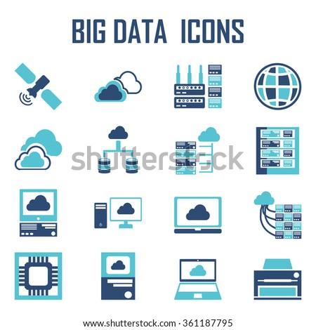 Big data icons - stock vector