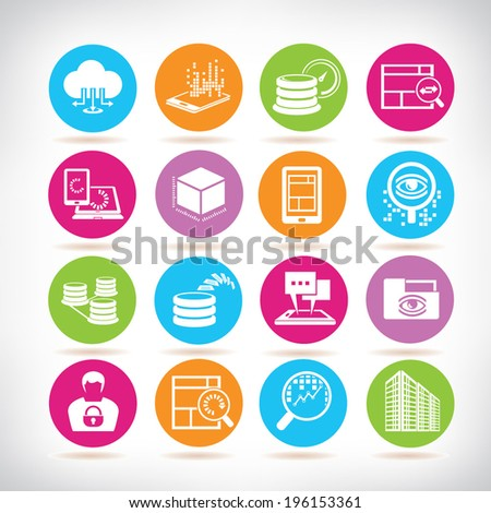 big data icons, colorful buttons set - stock vector