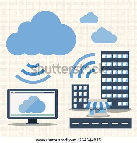 Big Data icons set, Cloud computing - stock vector