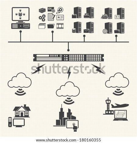 Big Data icons set. Cloud computing concept