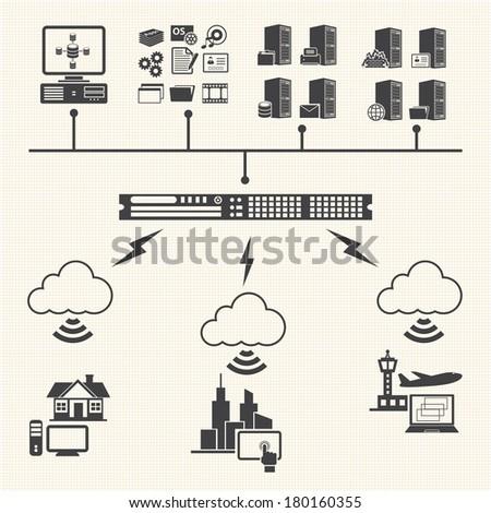 Big Data icons set. Cloud computing concept - stock vector