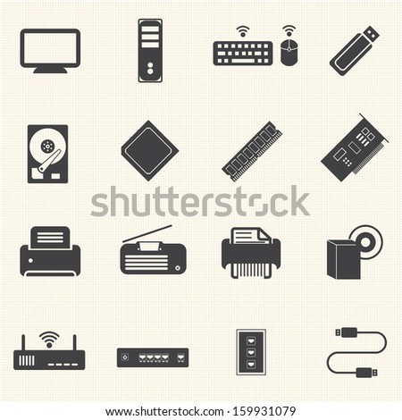Big Data icons set, Computer infrastructure - stock vector