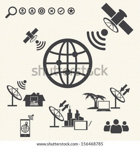 Big Data icons set, Satellite Telecommunications - stock vector