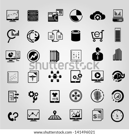 big data management icons set, black icons set - stock vector