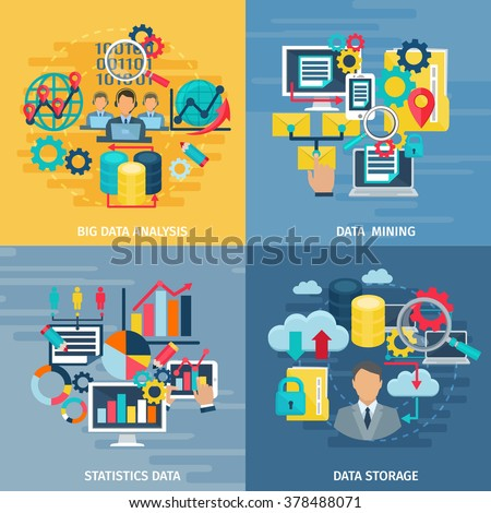 Big data mining analysis and storage technology 4 flat icons square composition banner abstract isolated illustration vector - stock vector