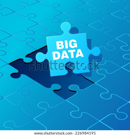 Big Data on blue puzzle. Vector illustration - stock vector