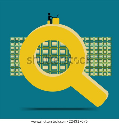 Big data query and search database  - concept idea with vintage color - stock vector