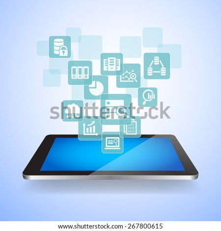 Big Data Science Concept - Touch digital tablet pc with big data science icons - stock vector