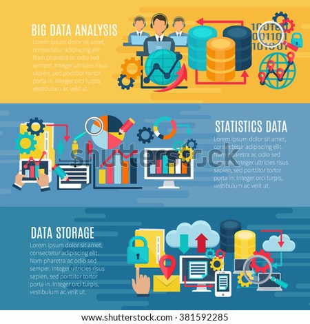Big data statistic analysis storage en processing techniques 3 flat horizontal banners set abstract isolated illustration vector - stock vector