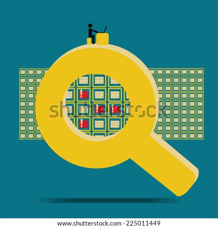 Big data technology search database and found problem - concept idease with vintage color - stock vector