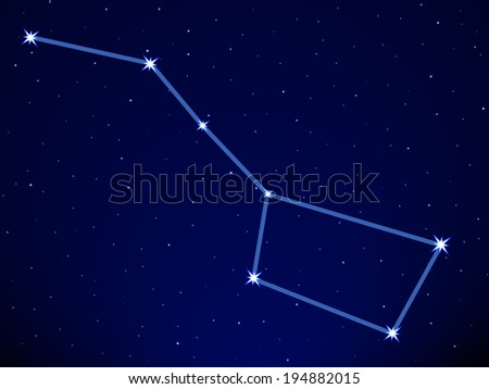 Big Dipper on the starry sky  - stock vector