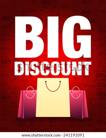 Big discount design and shopping bag with percentage red gradient background. - stock vector