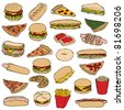 big doodle fast food set - stock vector