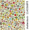 Big Doodle Icons Set : collection of numerous small hand-drawn illustrations (vignette) : No. 1 - stock vector