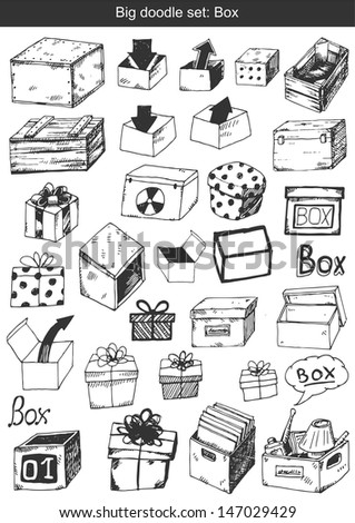 Big doodle set - Boxes - stock vector
