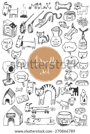 Big doodle set - Cats & dogs - stock vector