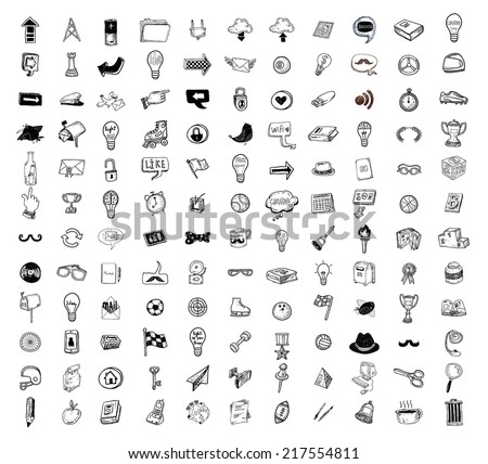 Big doodle set, collection icon, vector. - stock vector