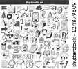 Big doodle set - design element - stock vector