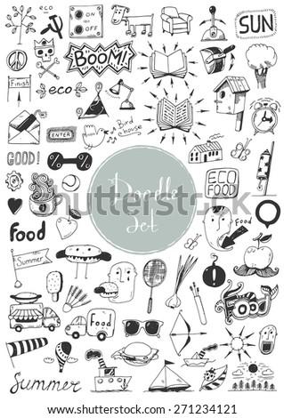 Big doodle set - Different elements - stock vector