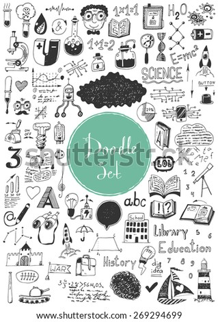 Big doodle set - Education, idea, science - stock vector