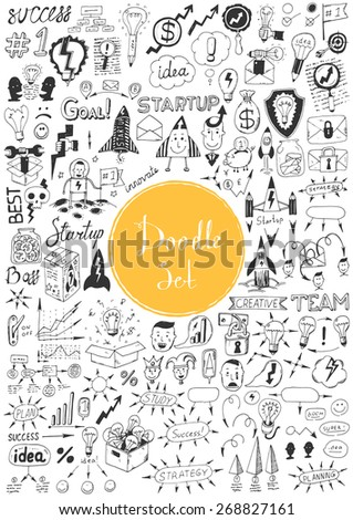 Big doodle set - Idea, business, education - stock vector