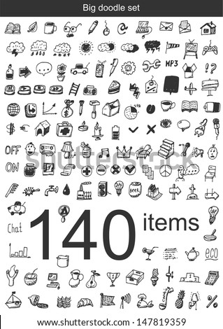 Big doodle set - 140 items - stock vector