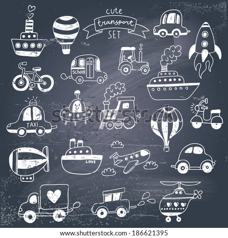 Big doodled transportation icons collection in black-and-white. Travel set with retro cars, air-balloons, ships, bike, helicopter and train. Graphic vintage set on chalkboard background.  - stock vector