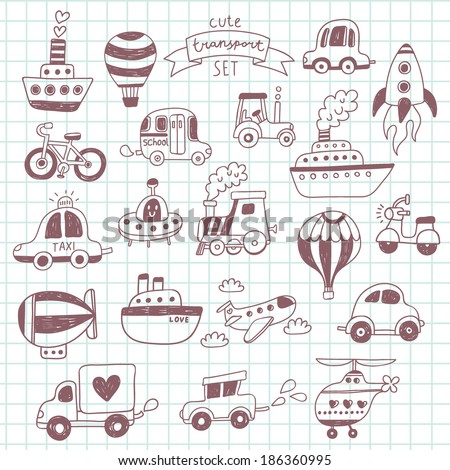 Big doodled transportation icons collection on school notebook. Travel set with retro cars, air-balloons, ships, bike, helicopter and train - stock vector