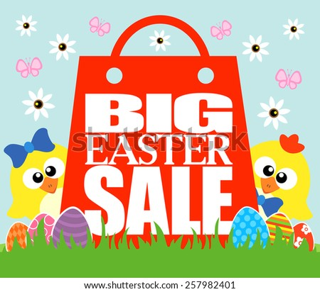 Big Easter Sale card, funny  chickens - stock vector