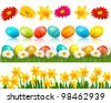 Big Easter set with traditional eggs and  flowers. Vector. - stock photo