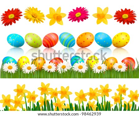 Big Easter set with traditional eggs and  flowers. Vector. - stock vector