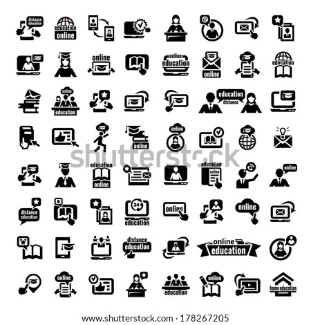 Big Elegant Education Concept Icons Set. - stock vector