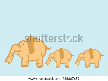 Big elephant leading two small elephant isolated on light blue background. Vector cartoon illustration for children.  - stock vector