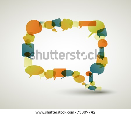 Big empty speech bubble made from colorful small bubbles - stock vector