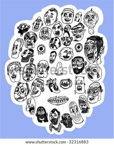 Big Face Made From Little Faces - Vector - stock vector