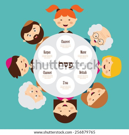 big family around passover plate, pesah in  hebrew. happy holiday.  - stock vector