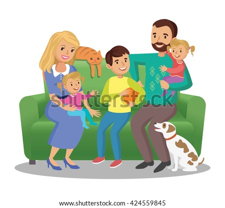 Big family on sofa. Happy family portrait, smiling parents and kids. Vector illustration - stock vector