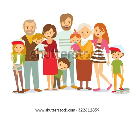big family portrait - stock vector