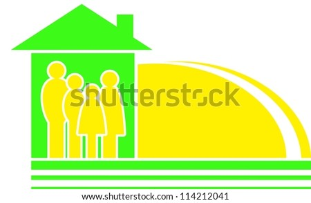 big family sign with yellow sun silhouette and house - stock vector