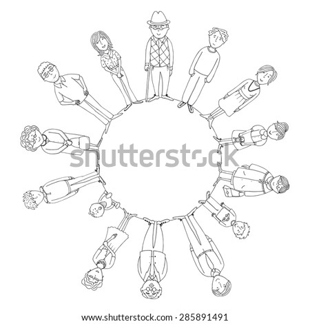 big family standing in circle in outline version - stock vector