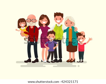 Big family together. Vector illustration of a flat design