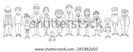 big family with three generations in outline version - stock vector